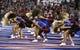 Sep 7, 2013; Lawrence, KS, USA; Kansas Jayhawks cheerleaders perform in the second half against the South Dakota Coyotes at Memorial Stadium. Kansas won the game 31-14. Mandatory Credit: John Rieger-USA TODAY Sports