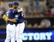 Sep 7, 2013; San Diego, CA, USA; San Diego Padres first baseman Kyle Blanks (88) celebrates with third baseman Chase Headley (7) after a double play to end the game against the Colorado Rockies at Petco Park.The Padres won 2-1. Mandatory Credit: Christopher Hanewinckel-USA TODAY Sports