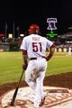 Sep 7, 2013; Philadelphia, PA, USA; Philadelphia Phillies catcher Carlos Ruiz (51) in the on deck circle during the sixth inning against the Atlanta Braves at Citizens Bank Park. The Phillies defeated the Braves 6-5. Mandatory Credit: Howard Smith-USA TODAY Sports
