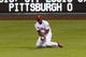 Sep 7, 2013; Philadelphia, PA, USA; Philadelphia Phillies right fielder Roger Bernadina (3) fails to make a catch during the ninth inning against the Atlanta Braves at Citizens Bank Park. The Phillies defeated the Braves 6-5. Mandatory Credit: Howard Smith-USA TODAY Sports