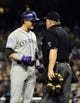Sep 7, 2013; San Diego, CA, USA; Colorado Rockies shortstop Troy Tulowitzki (2) reacts after a called strike three during an at bat in the eighth inning against the San Diego Padres at Petco Park. Mandatory Credit: Christopher Hanewinckel-USA TODAY Sports