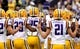Sep 7, 2013; Baton Rouge, LA, USA; LSU Tigers quarterback Zach Mettenberger (8) and the Tigers huddle prior to kickoff against the UAB Blazers at Tiger Stadium. LSU defeated UAB 56-17. Mandatory Credit: Crystal LoGiudice-USA TODAY Sports
