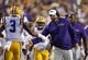 Sep 7, 2013; Baton Rouge, LA, USA; LSU Tigers head coach Les Miles and congratulates LSU Tigers wide receiver Odell Beckham (3) after a touchdown against the UAB Blazers at Tiger Stadium. LSU defeated UAB 56-17. Mandatory Credit: Crystal LoGiudice-USA TODAY Sports
