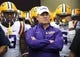 Sep 7, 2013; Baton Rouge, LA, USA; LSU Tigers head coach Les Miles and the Tigers wait to take the field prior to kickoff against the UAB Blazers at Tiger Stadium. LSU defeated UAB 56-17. Mandatory Credit: Crystal LoGiudice-USA TODAY Sports