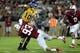 Sep 7, 2013; Stanford, CA, USA; Stanford Cardinal linebacker Trent Murphy (93) sacks San Jose State Spartans quarterback David Fales (10) during the second quarter at Stanford Stadium. Mandatory Credit: Kelley L Cox-USA TODAY Sports