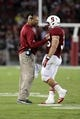 Sep 7, 2013; Stanford, CA, USA; Stanford Cardinal head coach David Shaw speaks with fullback Lee Ward (36) after a touchdown against the San Jose State Spartans during the fourth quarter at Stanford Stadium. The Stanford Cardinal defeated the San Jose State Spartans 34-13. Mandatory Credit: Kelley L Cox-USA TODAY Sports