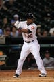 Sep 3, 2013; Houston, TX, USA; Houston Astros right fielder L.J. Hoes (28) bats against the Minnesota Twins during the ninth inning at Minute Maid Park. Mandatory Credit: Thomas Campbell-USA TODAY Sports