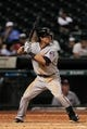 Sep 3, 2013; Houston, TX, USA; Minnesota Twins center fielder Darin Mastroianni (19) bats against the Houston Astros during the twelfth inning at Minute Maid Park. The Twins won 9-6. Mandatory Credit: Thomas Campbell-USA TODAY Sports