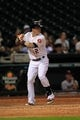 Sep 3, 2013; Houston, TX, USA; Houston Astros center fielder Brandon Barnes (2) bats against the Minnesota Twins during the twelfth inning at Minute Maid Park. The Twins won 9-6. Mandatory Credit: Thomas Campbell-USA TODAY Sports