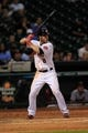 Sep 3, 2013; Houston, TX, USA; Houston Astros right fielder Trevor Crowe (8) bats against the Minnesota Twins during the ninth inning at Minute Maid Park. Mandatory Credit: Thomas Campbell-USA TODAY Sports