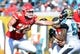 Sep 8, 2013; Jacksonville, FL, USA; Kansas City Chiefs tackle Eric Fisher (72) blocks Jacksonville Jaguars defensive end Jason Babin (58) during the game at EverBank Field. Mandatory Credit: Melina Vastola-USA TODAY Sports