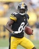 Sep 8, 2013; Pittsburgh, PA, USA; Pittsburgh Steelers wide receiver Antonio Brown (84) runs after a pass reception against the Tennessee Titans during the first quarter at Heinz Field. The Tennessee Titans won 16-9. Mandatory Credit: Charles LeClaire-USA TODAY Sports