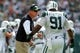 Sep 8, 2013; East Rutherford, NJ, USA; New York Jets head coach Rex Ryan talks with New York Jets defensive tackle Sheldon Richardson (91) on the sidelines during the first quarter of a game at MetLife Stadium. The Jets won 18-17. Mandatory Credit: Brad Penner-USA TODAY Sports