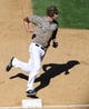Sep 8, 2013; San Diego, CA, USA; San Diego Padres third baseman Chase Headley (7) advances to third base during the seventh inning against the Colorado Rockies at Petco Park. Mandatory Credit: Christopher Hanewinckel-USA TODAY Sports