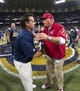 Sep 8, 2013; St. Louis, MO, USA; Arizona Cardinals head coach Bruce Arians congratulates St. Louis Rams head coach Jeff Fisher after the game at Edward Jones Dome. The Rams defeated the Cardinals 27-24. Mandatory Credit: Scott Rovak-USA TODAY Sports