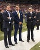 Sep 8, 2013; St. Louis, MO, USA; St. Louis Rams owner Stan Kroenke (M) talks with general manager Les Snead (L) and president Kevin Demoff  before the game against the Arizona Cardinals at Edward Jones Dome. Mandatory Credit: Scott Rovak-USA TODAY Sports