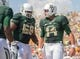 Sep 7, 2013; Waco, TX, USA; Baylor Bears quarterback Bryce Petty (14) and guard Cyril Richardson (68) celebrate the touchdown by Petty against the Buffalo Bulls during the game at Floyd Casey Stadium. The Bears defeated the Bulls 70-13. Mandatory Credit: Jerome Miron-USA TODAY Sports