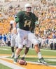Sep 7, 2013; Waco, TX, USA; Baylor Bears quarterback Bryce Petty (14) celebrates his touchdown against the Buffalo Bulls during the game at Floyd Casey Stadium. The Bears defeated the Bulls 70-13. Mandatory Credit: Jerome Miron-USA TODAY Sports