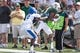 Sep 7, 2013; Waco, TX, USA; Baylor Bears wide receiver Robbie Rhodes (3) catches a pass as Buffalo Bulls defensive back Marqus Baker (5) defends during the game at Floyd Casey Stadium. The Bears defeated the Bulls 70-13. Mandatory Credit: Jerome Miron-USA TODAY Sports