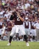Sep 7, 2013; College Station, TX, USA; Texas A&M Aggies quarterback Johnny Manziel (2) looks for an open receiver during the second quarter against the Sam Houston State Bearkats at Kyle Field. Mandatory Credit: Troy Taormina-USA TODAY Sports