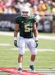 Sep 7, 2013; Waco, TX, USA; Baylor Bears linebacker Eddie Lackey (5) during the game against the Buffalo Bulls at Floyd Casey Stadium. The Bears defeated the Bulls 70-13. Mandatory Credit: Jerome Miron-USA TODAY Sports