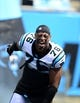 Sep 8, 2013; Charlotte, NC, USA; Carolina Panthers defensive end Greg Hardy (76) runs on to the field before the game at Bank of America Stadium. Mandatory Credit: Bob Donnan-USA TODAY Sports
