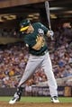 Sep 10, 2013; Minneapolis, MN, USA; Oakland Athletics outfielder Brandon Moss (37) is hit by a pitch during the sixth inning against the Minnesota Twins at Target Field. Mandatory Credit: Brace Hemmelgarn-USA TODAY Sports