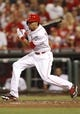 Sep 10, 2013; Cincinnati, OH, USA; Cincinnati Reds center fielder Billy Hamilton (6) bats during the seventh inning against the Chicago Cubs at Great American Ball Park. The Cubs won 9-1. Mandatory Credit: Frank Victores-USA TODAY Sports