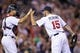 Sep 10, 2013; Minneapolis, MN, USA; Minnesota Twins pitcher Glen Perkins (15) celebrates with catcher Josmil Pinto (43) after the game against the Oakland Athletics at Target Field. The Twins won 4-3. Mandatory Credit: Brace Hemmelgarn-USA TODAY Sports
