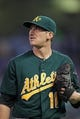 Sep 10, 2013; Minneapolis, MN, USA; Oakland Athletics pitcher Jarrod Parker (11) looks on during the first inning against the Minnesota Twins at Target Field. The Twins won 4-3. Mandatory Credit: Brace Hemmelgarn-USA TODAY Sports