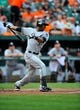 Sep 8, 2013; Baltimore, MD, USA; Chicago White Sox center fielder Alejandro De Aza (30) bats in the first inning against the Baltimore Orioles at Oriole Park at Camden Yards. The White Sox defeated the Orioles 4-2. Mandatory Credit: Joy R. Absalon-USA TODAY Sports