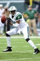 Sep 8, 2013; East Rutherford, NJ, USA; New York Jets quarterback Geno Smith (7) drops back to pass against the Tampa Bay Buccaneers during the second half at MetLife Stadium. The Jets won 18-17. Mandatory Credit: Joe Camporeale-USA TODAY Sports