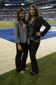 Sep 8, 2013; Indianapolis, IN, USA; Oakland Raiders staff members Erin Exum (left) and Rebecca Corman pose before the game against the Indianapolis Colts at Lucas Oil Stadium. Mandatory Credit: Kirby Lee-USA TODAY Sports