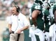 Sep 7, 2013; East Lansing, MI, USA; Michigan State Spartans head coach Mark Dantonio  walks the sidelines  during the first half of a game against the South Florida Bulls  at Spartan Stadium. Mandatory Credit: Mike Carter-USA TODAY Sports
