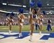 Sep 8, 2013; Indianapolis, IN, USA; Indianapolis Colts cheerleaders perform during the game against the Oakland Raiders at Lucas Oil Stadium. Mandatory Credit: Kirby Lee-USA TODAY Sports