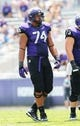 Sep 7, 2013; Fort Worth, TX, USA; TCU Horned Frogs offensive tackle Halapoulivaati Vaitai (74) during the game against the Southeastern Louisiana Lions at Amon G. Carter Stadium. Mandatory Credit: Kevin Jairaj-USA TODAY Sports