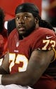 Aug 29, 2013; Tampa, FL, USA; Washington Redskins guard Adam Gettis (73) during the second half against the Tampa Bay Buccaneers at Raymond James Stadium. Washington Redskins defeated the Tampa Bay Buccaneers 30-12. Mandatory Credit: Kim Klement-USA TODAY Sports
