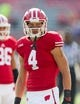 Sep 7, 2013; Madison, WI, USA; Wisconsin Badgers wide receiver Jared Abbrederis (4) during warmups prior to the game against the Tennessee Tech Golden Eagles at Camp Randall Stadium.  Wisconsin won 48-0.  Mandatory Credit: Jeff Hanisch-USA TODAY Sports