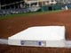 Sep 11, 2013; Cleveland, OH, USA; First base with a commemorative seal on it remembering September 11, 2001 at Progressive Field. Mandatory Credit: Ken Blaze-USA TODAY Sports