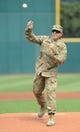 Sep 11, 2013; Cleveland, OH, USA; US Army major James Ruzicka throws out the first pitch before the game between the Cleveland Indians and the Kansas City Royals at Progressive Field. Mandatory Credit: Ken Blaze-USA TODAY Sports