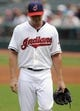 Sep 11, 2013; Cleveland, OH, USA;Cleveland Indians starting pitcher Scott Kazmir (26) walks off the field after giving up three runs during the first inning against the Kansas City Royals at Progressive Field. Mandatory Credit: Ken Blaze-USA TODAY Sports