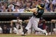 Sep 11, 2013; Minneapolis, MN, USA; Oakland Athletics right fielder Brandon Moss (37) hits a ground rule double in the first inning against the Minnesota Twins at Target Field. Mandatory Credit: Jesse Johnson-USA TODAY Sports