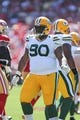 Sep 8, 2013; San Francisco, CA, USA; Green Bay Packers nose tackle B.J. Raji (90) after play against the San Francisco 49ers during the second quarter at Candlestick Park. Mandatory Credit: Kelley L Cox-USA TODAY Sports