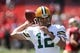 Sep 8, 2013; San Francisco, CA, USA; Green Bay Packers quarterback Aaron Rodgers (12) before the game against the San Francisco 49ers at Candlestick Park. Mandatory Credit: Kelley L Cox-USA TODAY Sports