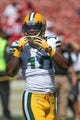 Sep 8, 2013; San Francisco, CA, USA; Green Bay Packers wide receiver Jeremy Ross (10) before the game against the San Francisco 49ers at Candlestick Park. Mandatory Credit: Kelley L Cox-USA TODAY Sports