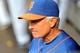 Sep 12, 2013; New York, NY, USA; New York Mets manager Terry Collins (10) looks on during the fifth inning against the Washington Nationals at Citi Field. Mandatory Credit: Joe Camporeale-USA TODAY Sports