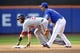 Sep 12, 2013; New York, NY, USA; New York Mets shortstop Ruben Tejada (11) forces out Washington Nationals right fielder Jayson Werth (28) at second base during the eighth inning at Citi Field. Mandatory Credit: Joe Camporeale-USA TODAY Sports