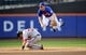 Sep 12, 2013; New York, NY, USA; Washington Nationals left fielder Bryce Harper (34) breaks up a double play attempt by New York Mets second baseman Daniel Murphy (28) during the eighth inning at Citi Field. Mandatory Credit: Joe Camporeale-USA TODAY Sports