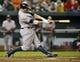 Sep 12, 2013; Baltimore, MD, USA; New York Yankees first baseman Mark Reynolds (39) hits a two-run home run in the second inning against the Baltimore Orioles at Oriole Park at Camden Yards. This was Mark Reynolds 200th career home run. Mandatory Credit: Joy R. Absalon-USA TODAY Sports