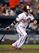 Sep 12, 2013; Baltimore, MD, USA; Baltimore Orioles first baseman Chris Davis (19) singles in the first inning against the New York Yankees at Oriole Park at Camden Yards. Mandatory Credit: Joy R. Absalon-USA TODAY Sports